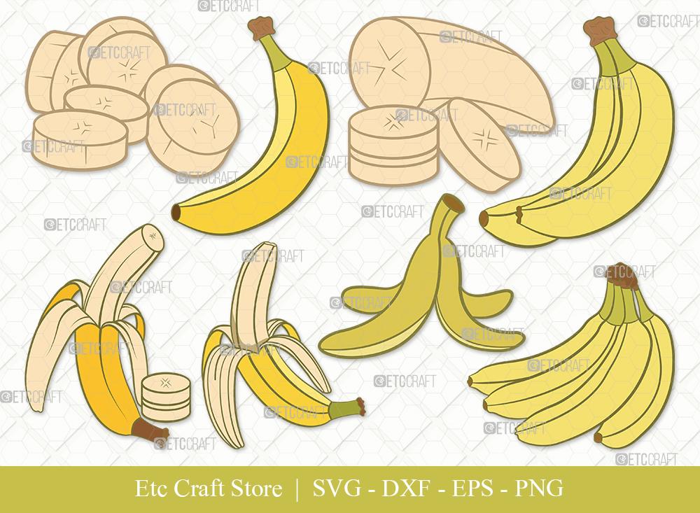Banana Clipart SVG Cut File | Fruits Svg