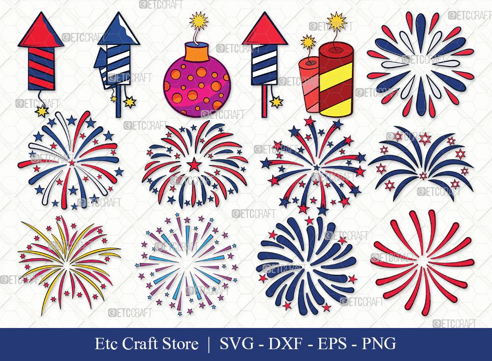 Fireworks Clipart SVG Cut File | 4th Of July Svg