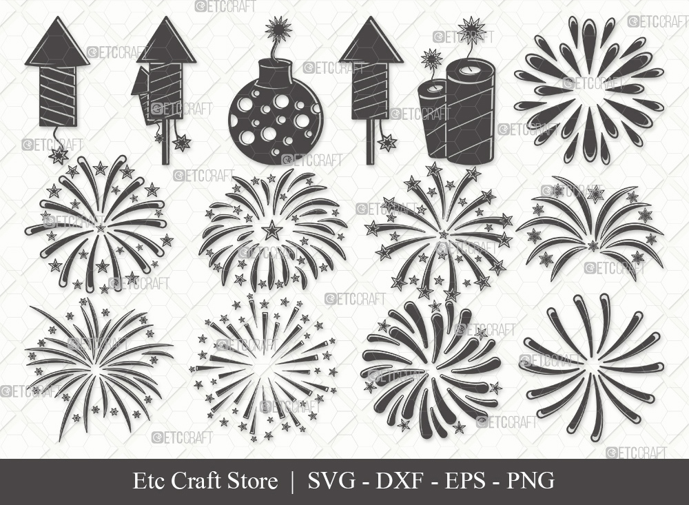 Fireworks Silhouette SVG | 4th Of July Svg