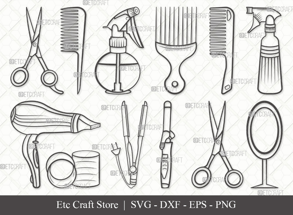Hair Salon Outline SVG Cut File | Hair Dryer Svg