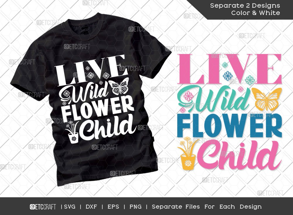 Live Wild Flower Child SVG Cut File | Hello Spring Svg