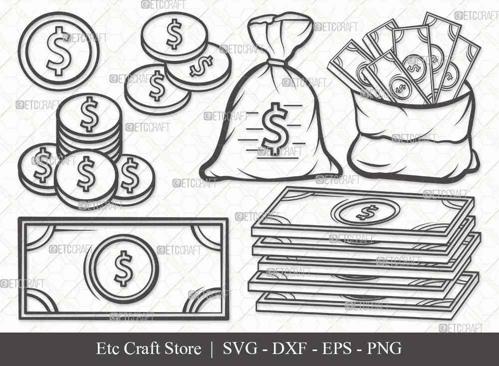 Money Outline SVG Cut File | Dollars Svg