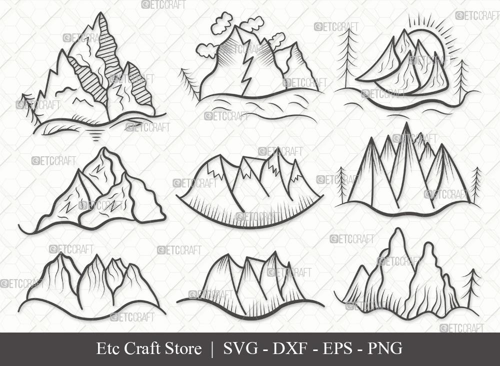 Mountain Outline SVG Cut File | Nature Svg