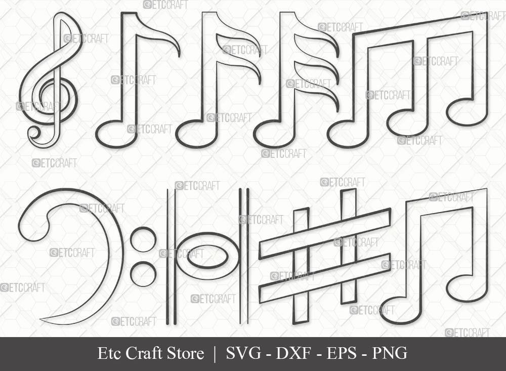 Music Notes Outline SVG Cut File | Music Svg