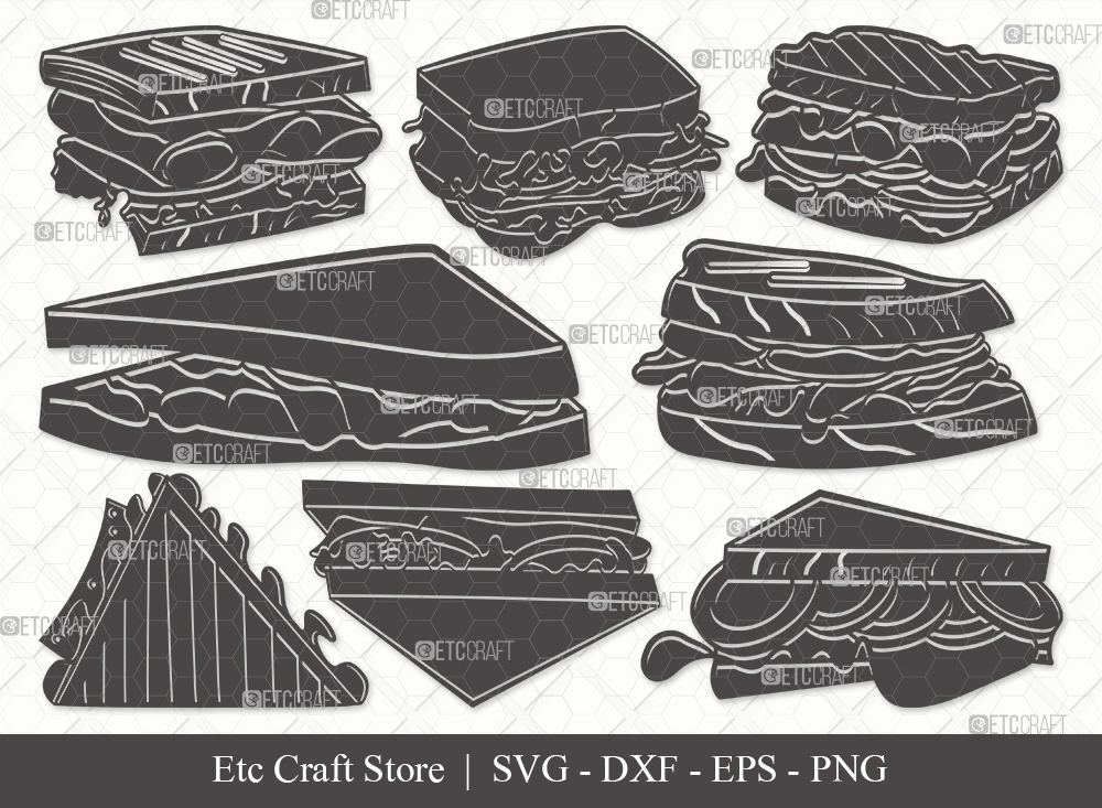 Sandwich Silhouette SVG Cut File | Food Svg