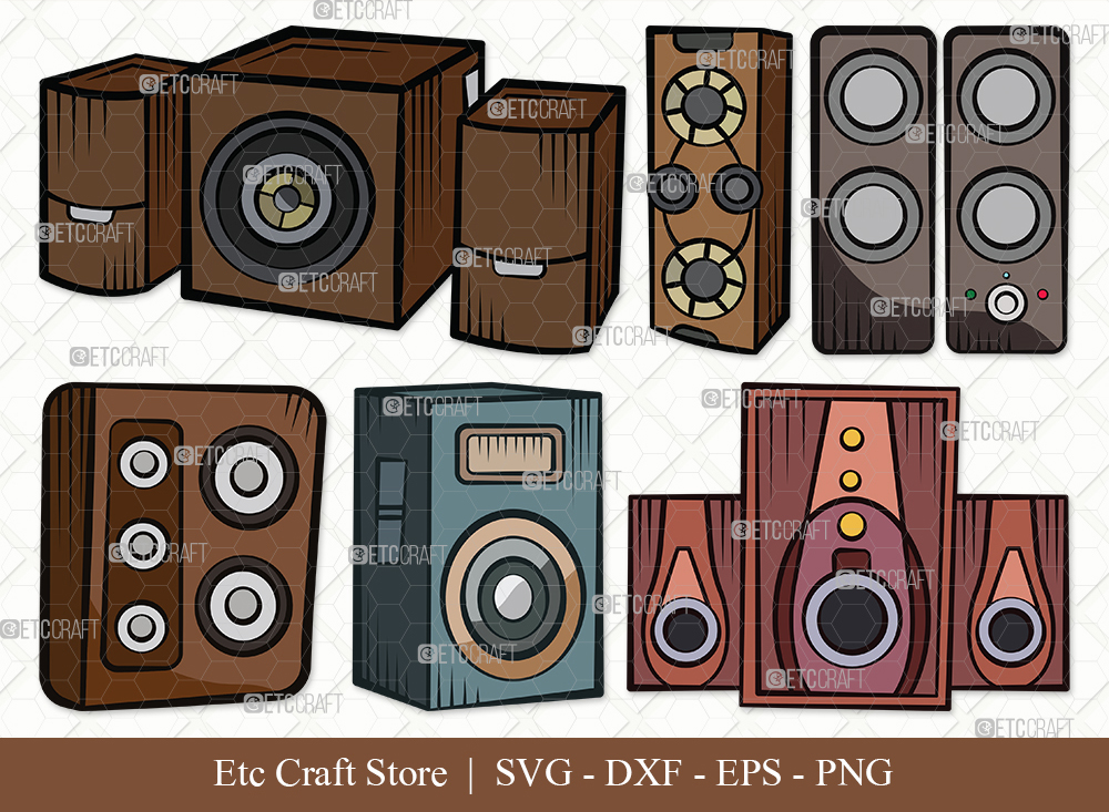Sound Box Clipart SVG Cut File | Speakers Svg
