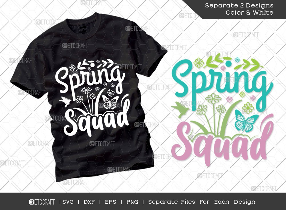 Spring Squad Svg Cut File | Hello Spring Svg