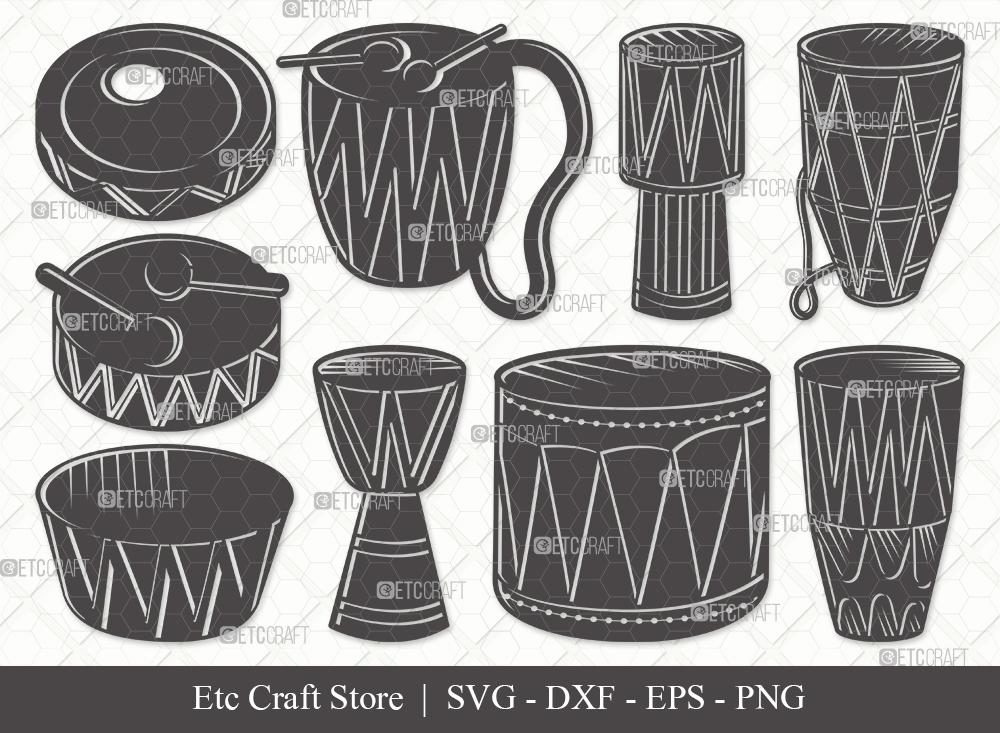 Tribal Drum Silhouette SVG Cut File | Drum Svg