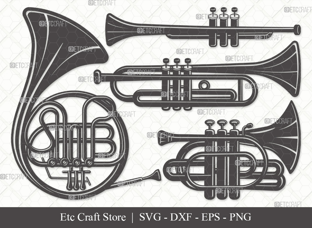 Trumpet Silhouette SVG Cut File | French Horn Svg