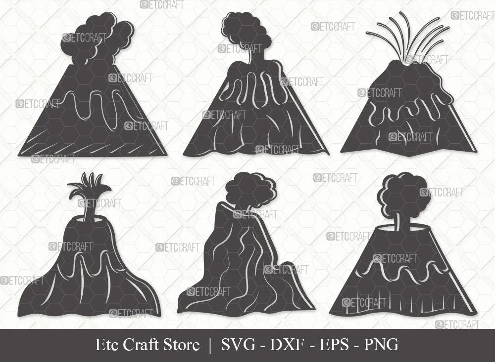Volcano Silhouette SVG Cut File | Lava Svg