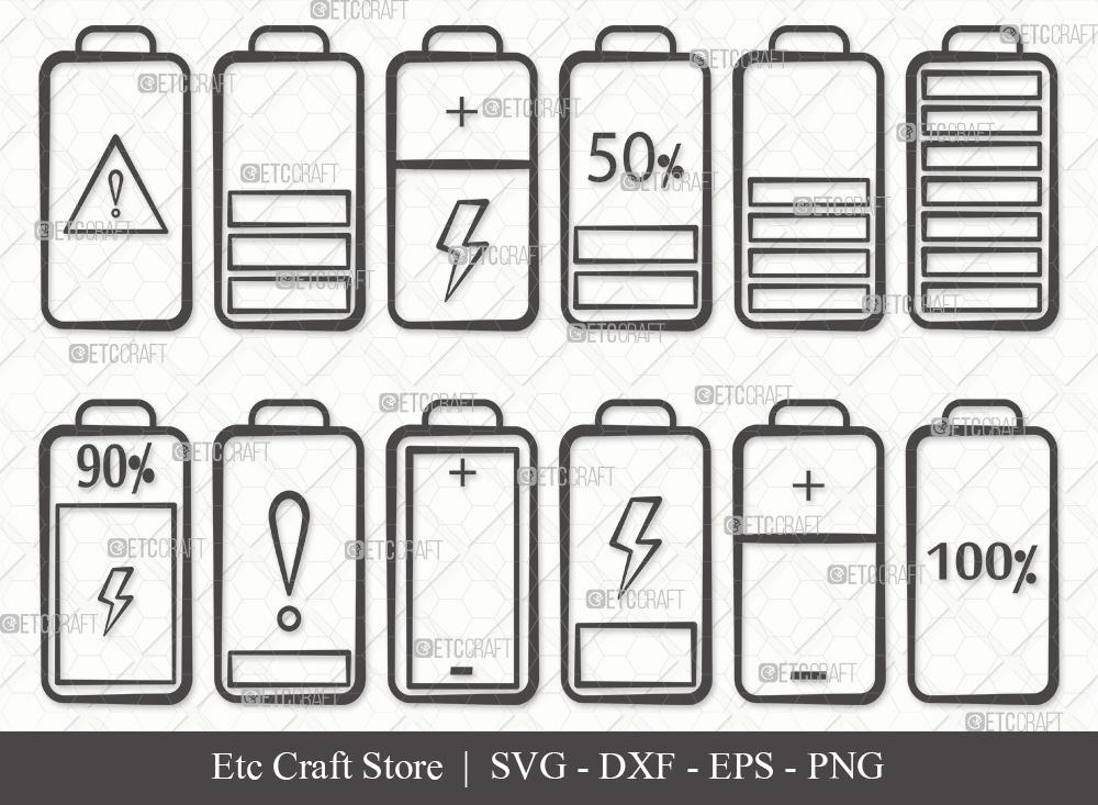 Battery Outline SVG Cut File | Battery Bundle