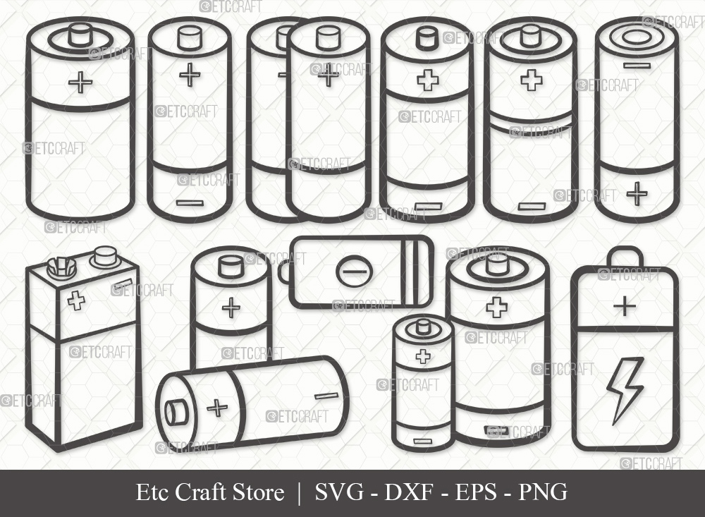 Battery Outline SVG Cut File | Battery Svg