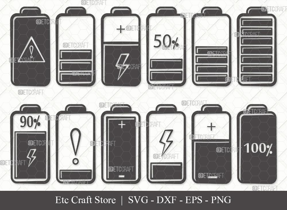 Battery Silhouette SVG Cut File | Battery Bundle