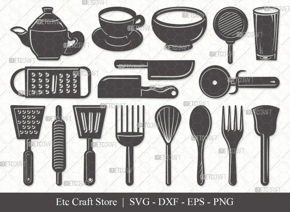 Kitchen Silhouette SVG | Cooking Utensils Svg