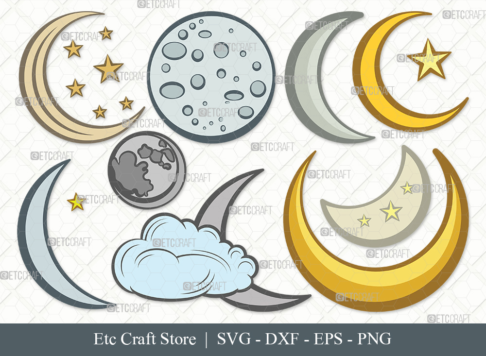 Moon Clipart SVG Cut File | Half Moon Svg