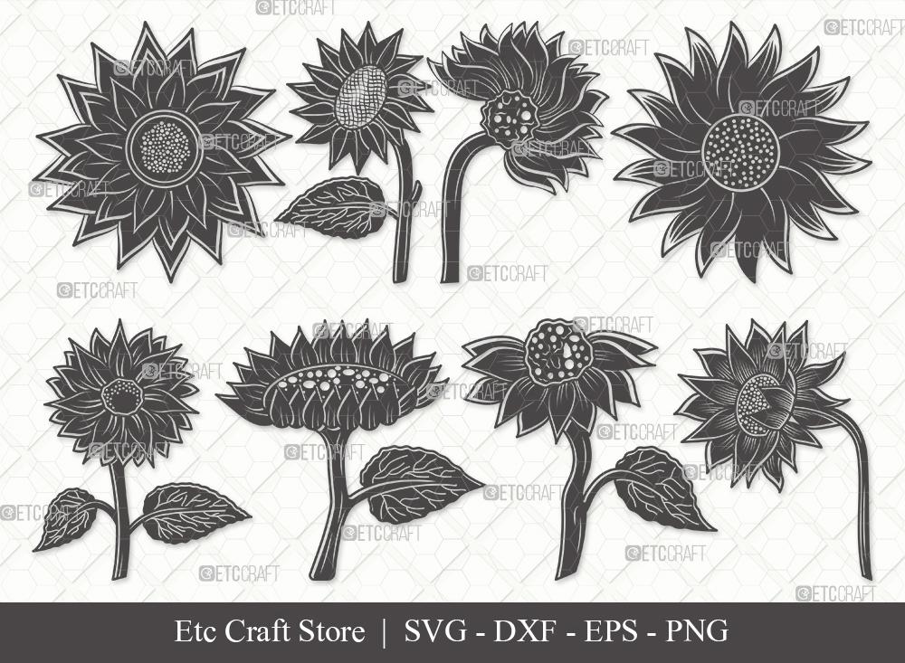 Sunflower Silhouette SVG   Sunflower SVG Bundle