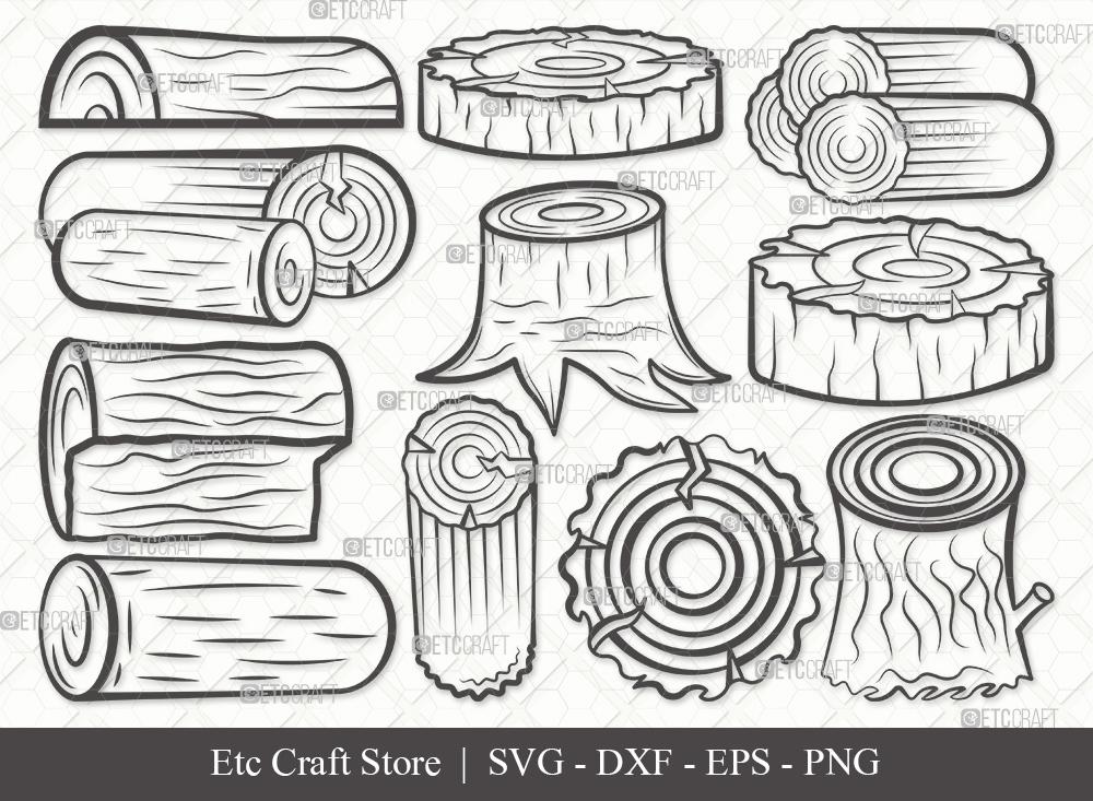Wood Log Outline SVG | Wood Svg | Tree Log