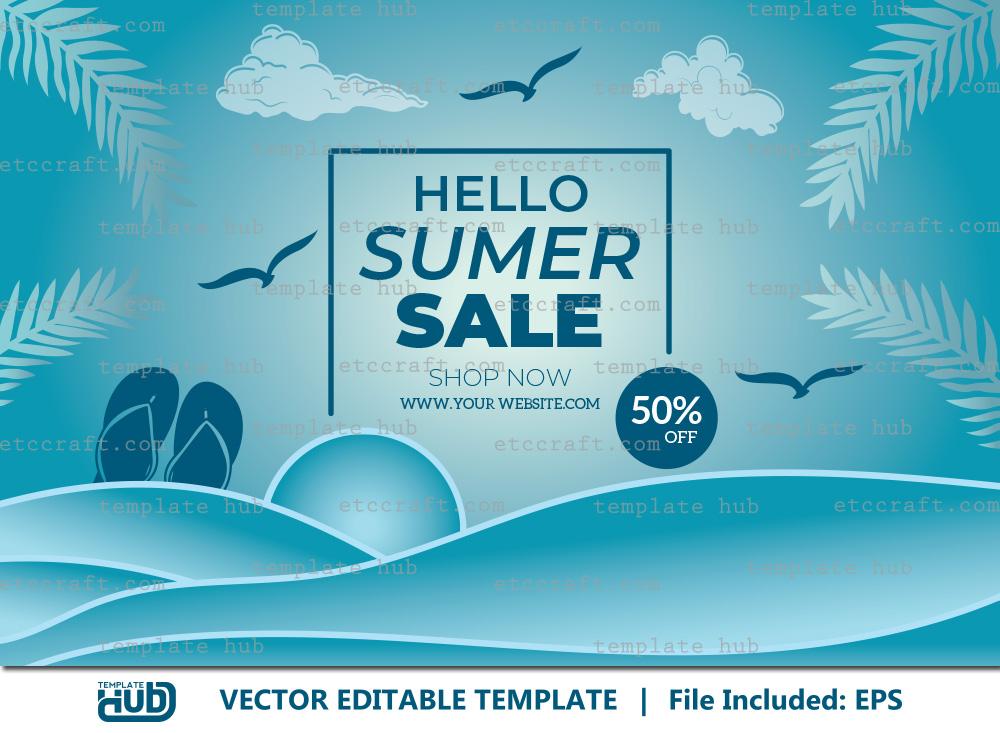 Summer Sales Banner, Background Template