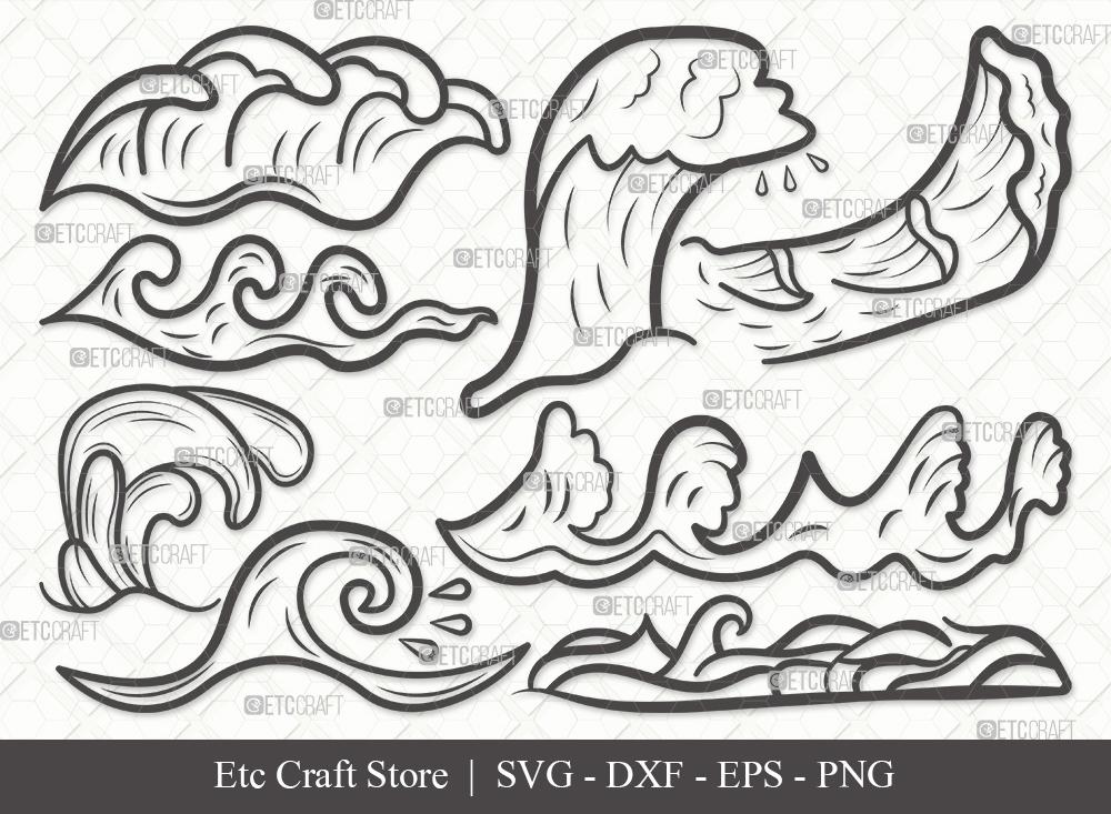 Waves Outline SVG   Ocean Waves SVG Bundle