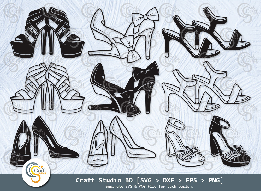 High Heels Silhouette, Women's Shoes SVG