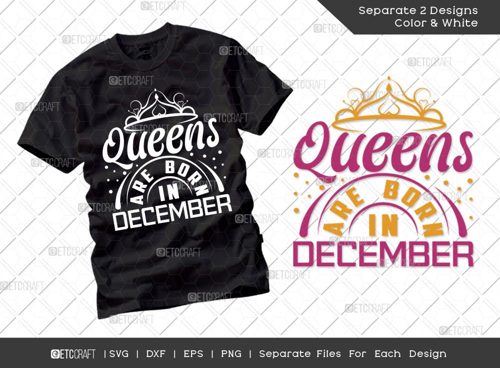 Queens Are Born In December SVG | Birthday