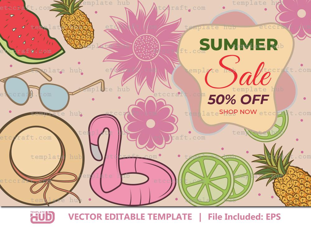 Summer Sales Banner, Offer Template