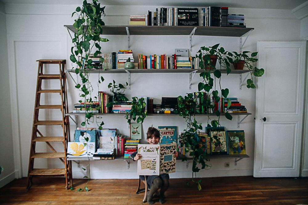 un mur de livres et de plantes et