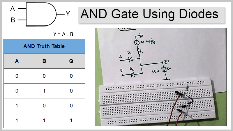 And Gate using Diodes on breadboard