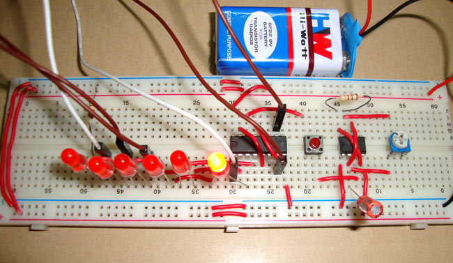 Electronic Dice using 4017 IC, 6 Leds with 555 Timer