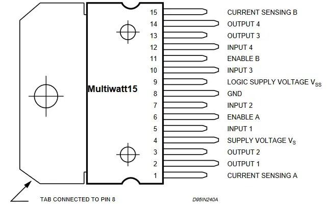 Pinouts of L298N IC