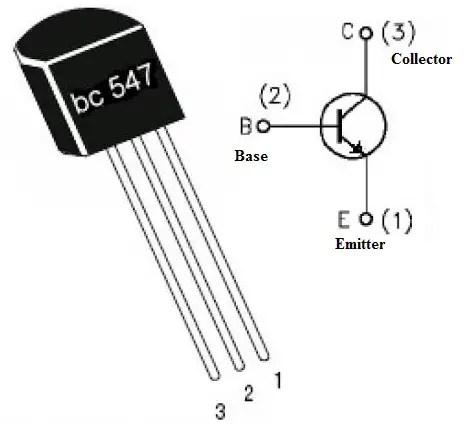 BC547 transistor Pinouts