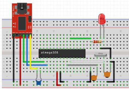 ATmega328p to serialTTL adapter connection