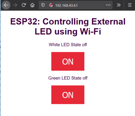 HTML webpage displayed by the ESP32 web server