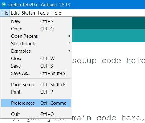 Preference option in Arduino IDE
