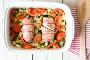kip met pesto en spek uit de oven