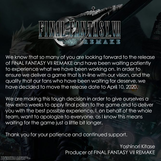 FINAL FANTASY VII REMAKE – POSTICIPATO
