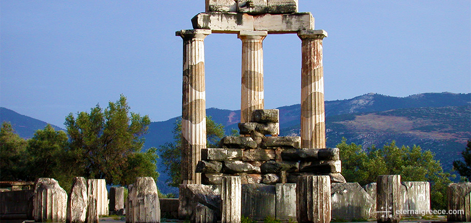 The temple of Athena at Delphi, Greece, a UNESCO World Heritage Site Eternal Greece Ltd