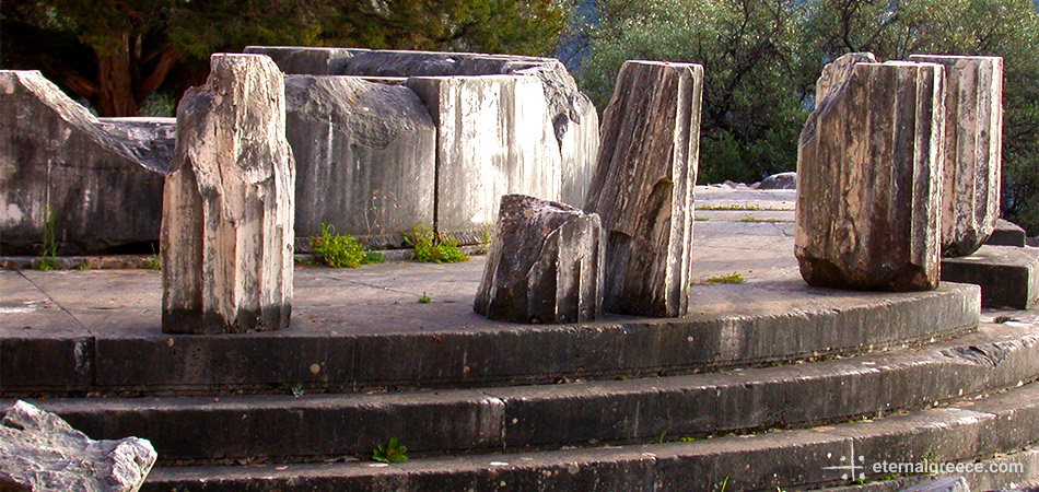 Detail of the tholus at the temple of Athena at Delphi, Greece, a UNESCO World Heritage Site Eternal Greece Ltd
