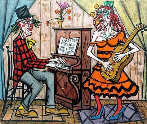 Le clown musicien et la diva, par Bernard Buffet