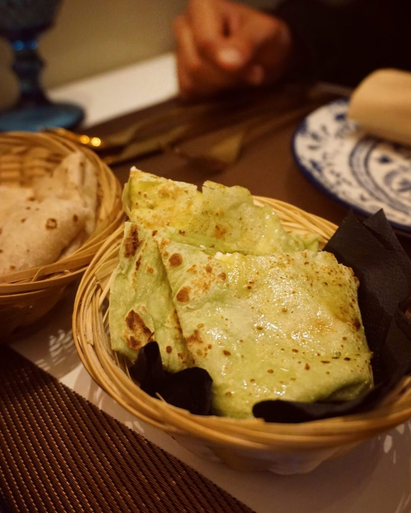 Image of a basket of Roomali Roti at Hankis Marble Arch
