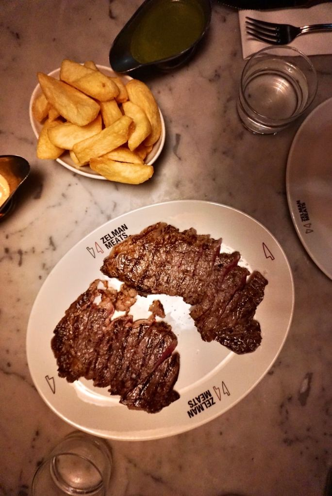 Image of a plate of steak and chips at Zelman Meats Soho