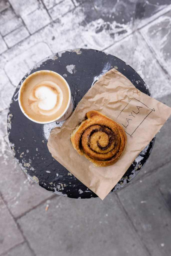 Cinnamon Roll and Coffee at Layla Bakery