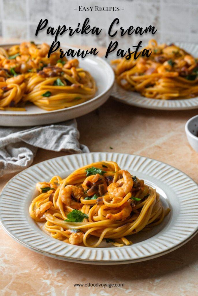 Paprika Cream Prawn Linguine