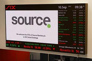 Source lists 14 exchange-traded funds (ETFs) on the SIX Swiss exchange