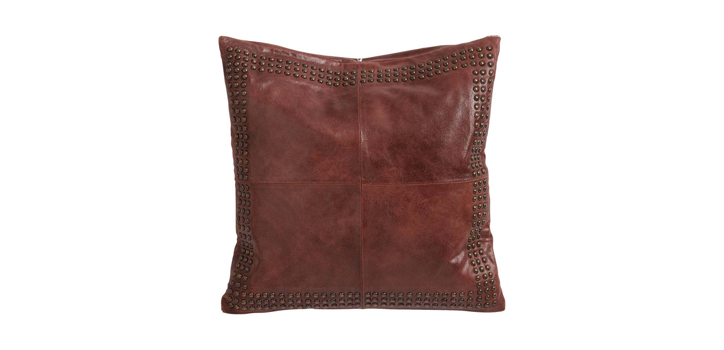 worn leather pillow burgundy
