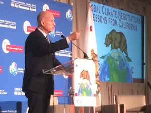 "Gov Brown: ""the dark shadow of prosperity is climate change"""