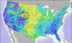 The dark orange over Wyoming means great wind resources to import to California