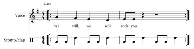 We Will Rock You compound simple - notation