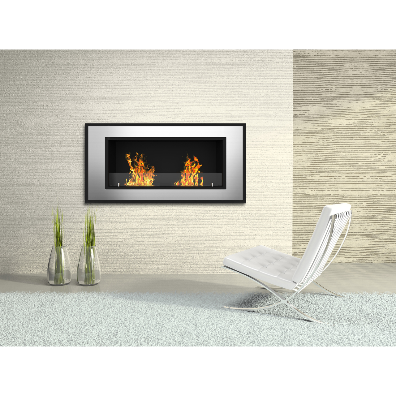 Brooks 47 Inch Ventless Built In Recessed Bio Ethanol Wall