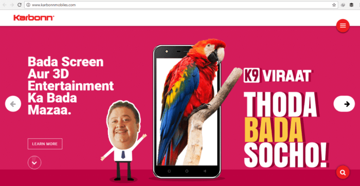 Karbonn Home Page Screenshot